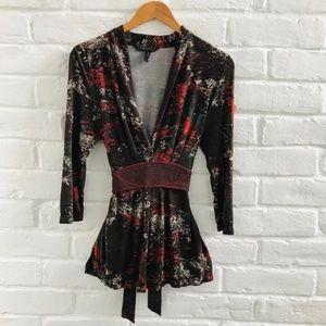 BCBGMAXAZRIA kimono plunge v-neck brown top size M